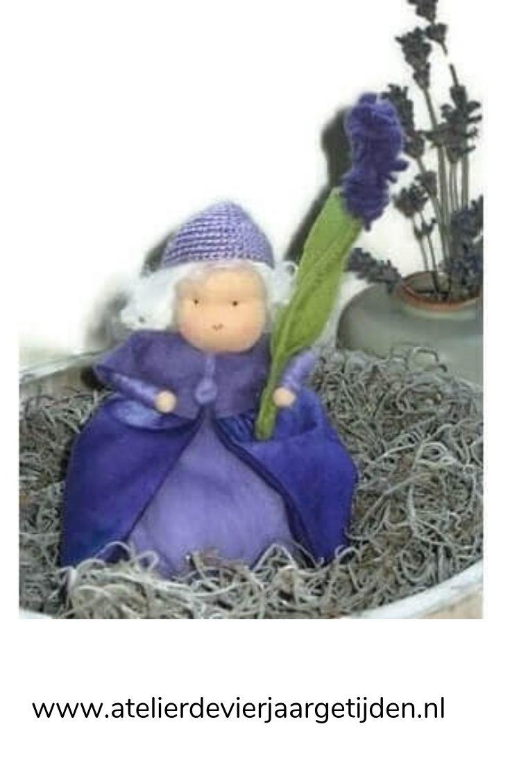 Lavendel popje van wol en vilt
