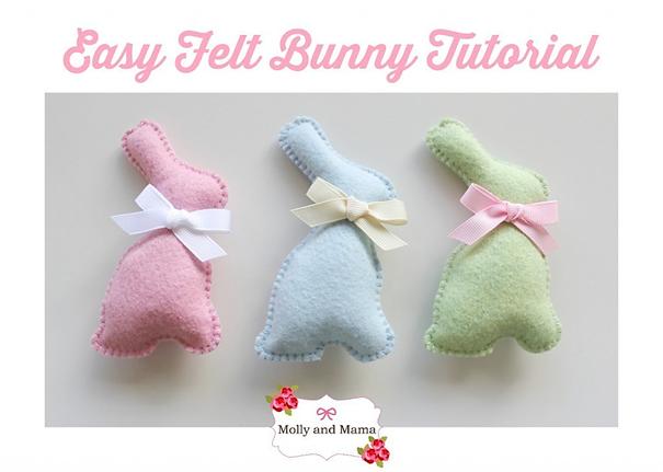 Free felt tutorial felt bunny  van Mollyandmama