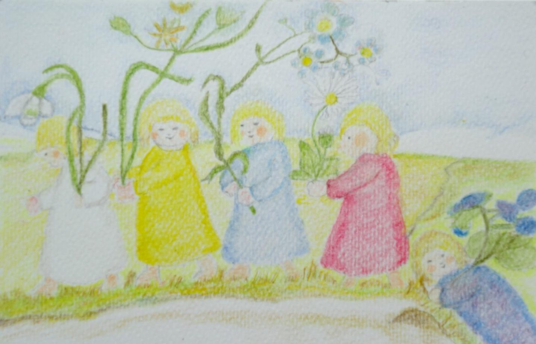 Bloemenkinderen op de seizoentafel