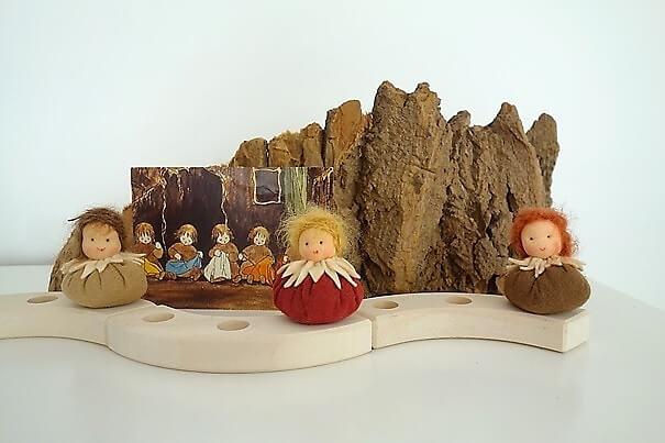 Wortelkindjes op de seizoentafel Grimms verjaardags- of jaarring